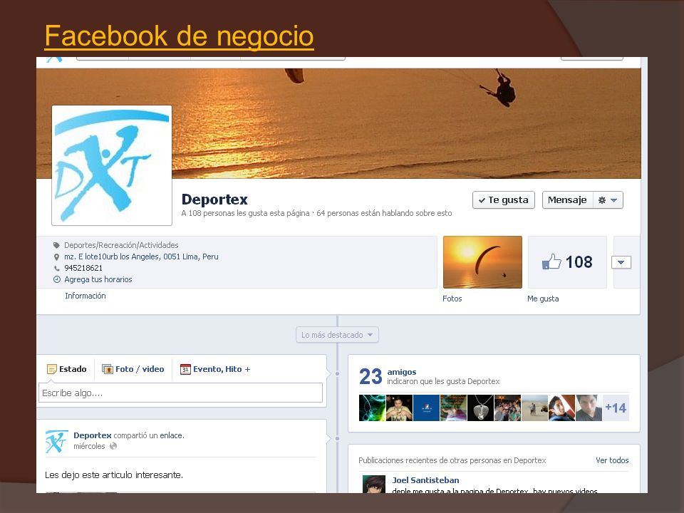 Facebook de negocio https://www.facebook.com/Deportex.Peru