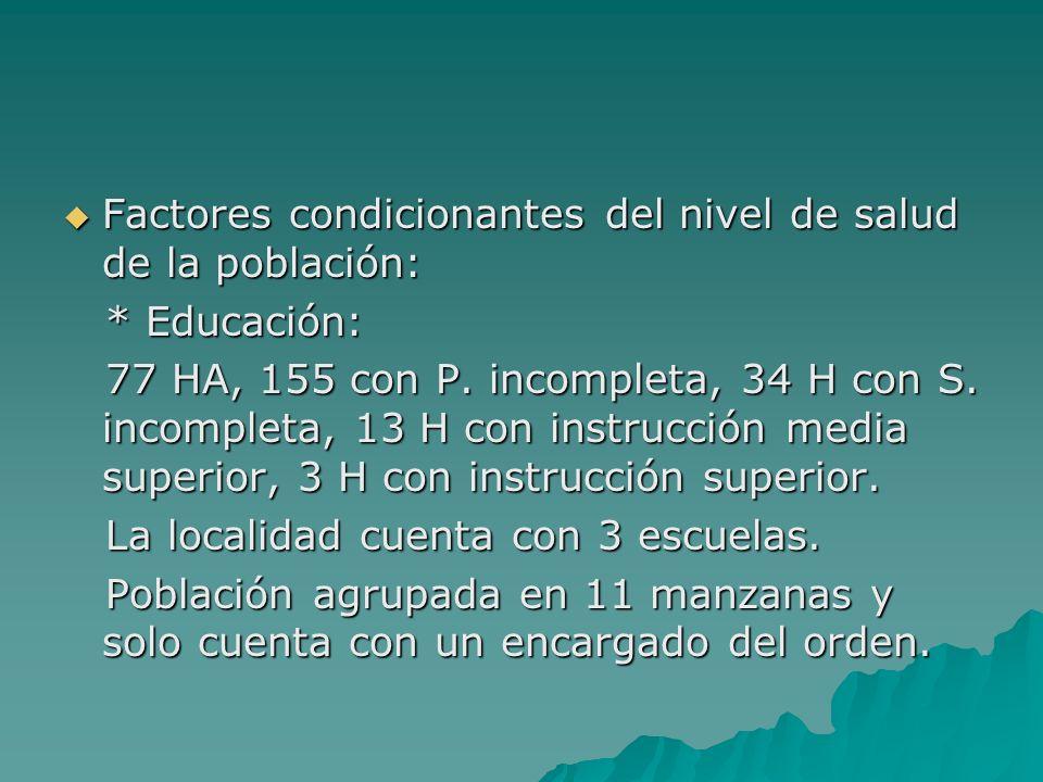 Factores condicionantes del nivel de salud de la población: Factores condicionantes del nivel de salud de la población: * Educación: * Educación: 77 H