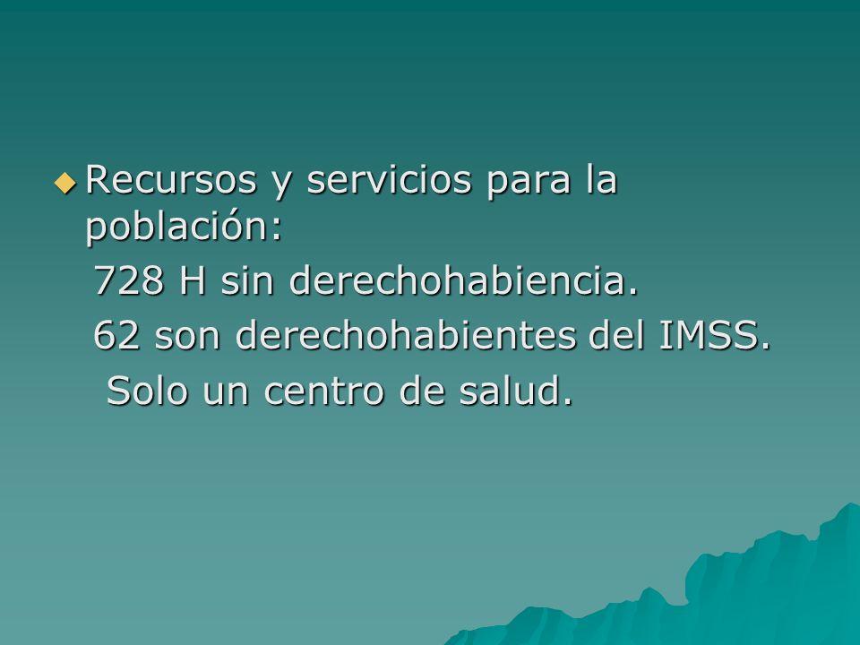 Recursos y servicios para la población: Recursos y servicios para la población: 728 H sin derechohabiencia. 728 H sin derechohabiencia. 62 son derecho