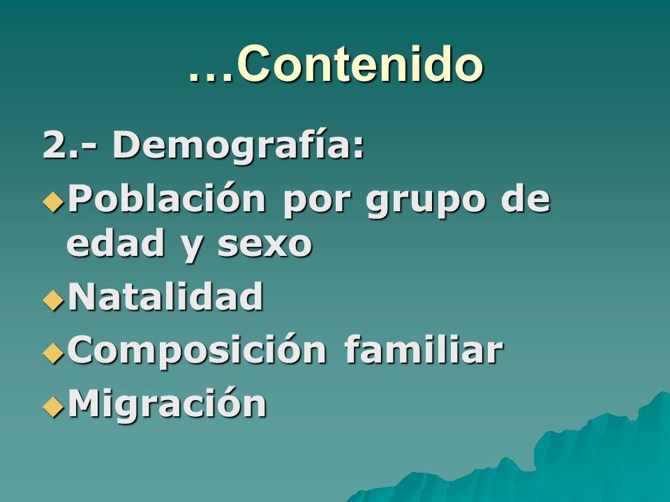 …Contenido 2.- Demografía: Población por grupo de edad y sexo Población por grupo de edad y sexo Natalidad Natalidad Composición familiar Composición