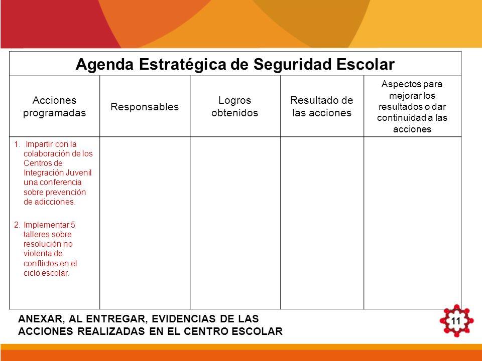 11 Agenda Estratégica de Seguridad Escolar Acciones programadas Responsables Logros obtenidos Resultado de las acciones Aspectos para mejorar los resu