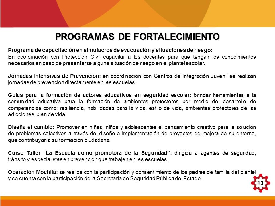 13 PROGRAMAS DE FORTALECIMIENTO Programa de capacitación en simulacros de evacuación y situaciones de riesgo: En coordinación con Protección Civil cap