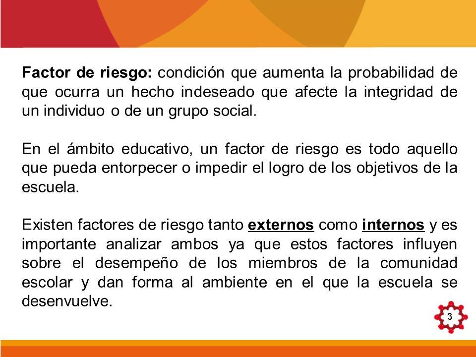3 Factor de riesgo: condición que aumenta la probabilidad de que ocurra un hecho indeseado que afecte la integridad de un individuo o de un grupo soci