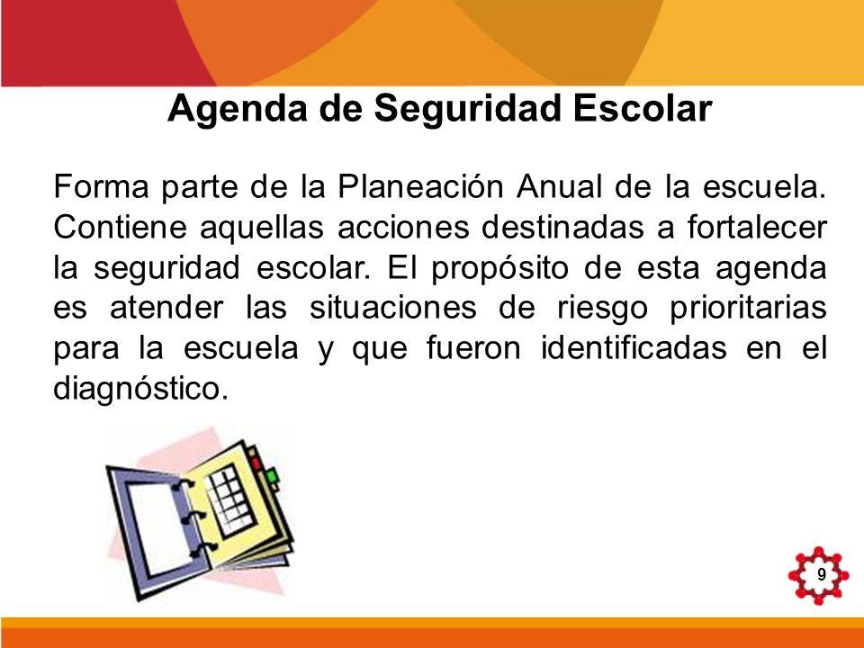 9 Agenda de Seguridad Escolar Forma parte de la Planeación Anual de la escuela. Contiene aquellas acciones destinadas a fortalecer la seguridad escola