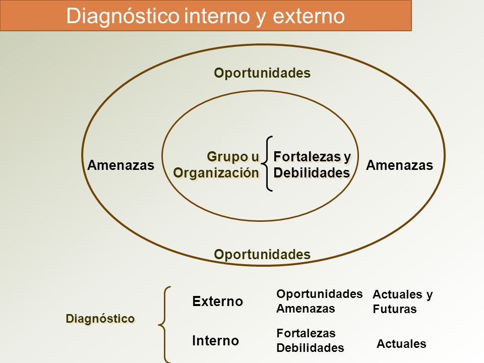 Diagnóstico interno y externo Grupo u Organización Grupo u Organización Fortalezas y Debilidades Fortalezas y Debilidades Oportunidades Amenazas Diagn