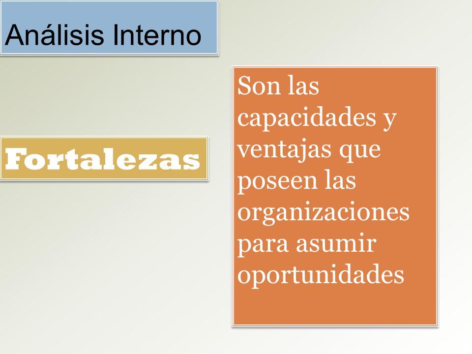 Análisis Interno Son las capacidades y ventajas que poseen las organizaciones para asumir oportunidades Fortalezas