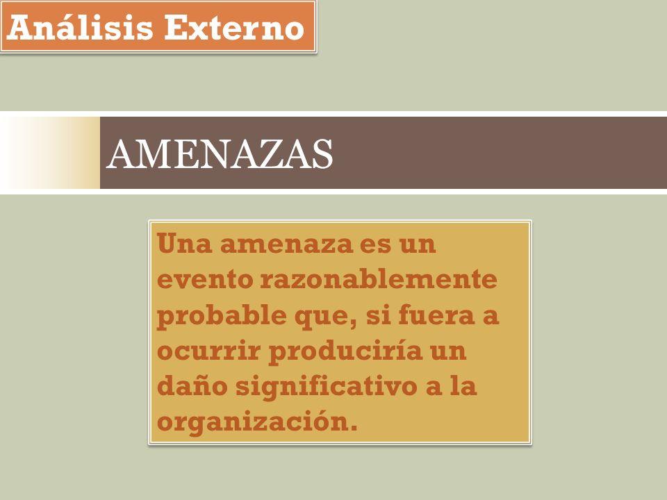 Análisis Externo Una amenaza es un evento razonablemente probable que, si fuera a ocurrir produciría un daño significativo a la organización. Una amen