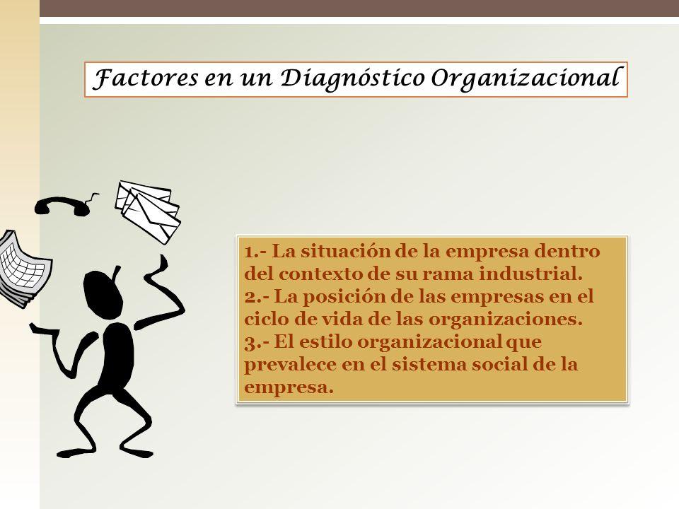 1.- La situación de la empresa dentro del contexto de su rama industrial. 2.- La posición de las empresas en el ciclo de vida de las organizaciones. 3
