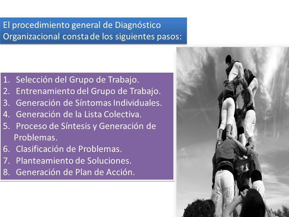 1. Selección del Grupo de Trabajo. 2. Entrenamiento del Grupo de Trabajo. 3. Generación de Síntomas Individuales. 4. Generación de la Lista Colectiva.
