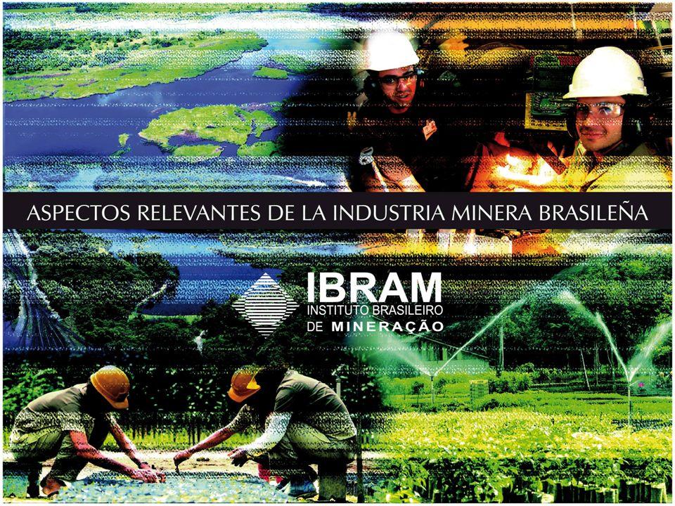 PRODUCCIÓN MINERAL BRASILEÑA 2005 Mineral Ranking Mundial (% producción) Clasificación de Minas (1.000 t / año ROM) Localidad A >3,000 B <3,000 >1,000 C <1,000 > 500 D < 500 > 300 E < 300 > 150 F < 150 > 100 Aluminio (Bauxita) 2 º (12,8%) 21Pará - PA 31Minas Gerais - MG Crisotila3º (10,2%)1Goiás - GO Magnesita3º (8,4%)1Bahia - BA Vermiculita4 º (5,4%) * Goiás - GO Caolín5 º (5,4%) 1Amapá - AP 1Pará - PA * Produçaõ < 100 Fontes: DNPM/MME e Minérios & Minerales