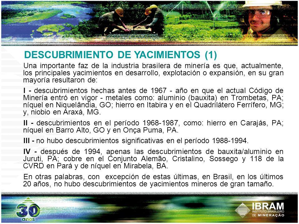 DESCUBRIMIENTO DE YACIMIENTOS (1) Una importante faz de la industria brasilera de minería es que, actualmente, los principales yacimientos en desarrol