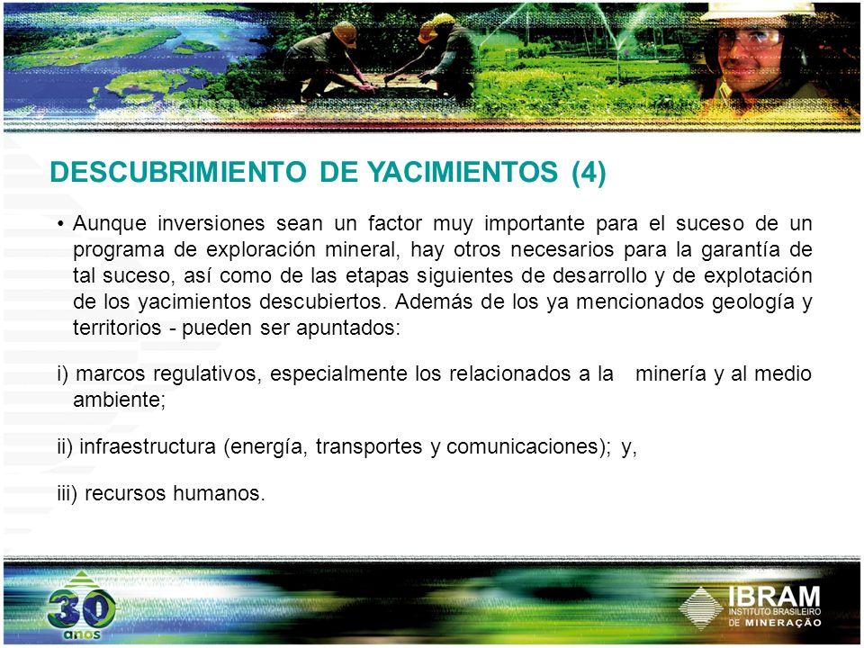 DESCUBRIMIENTO DE YACIMIENTOS (4) Aunque inversiones sean un factor muy importante para el suceso de un programa de exploración mineral, hay otros nec