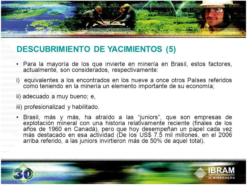 DESCUBRIMIENTO DE YACIMIENTOS (5) Para la mayoría de los que invierte en minería en Brasil, estos factores, actualmente, son considerados, respectivam