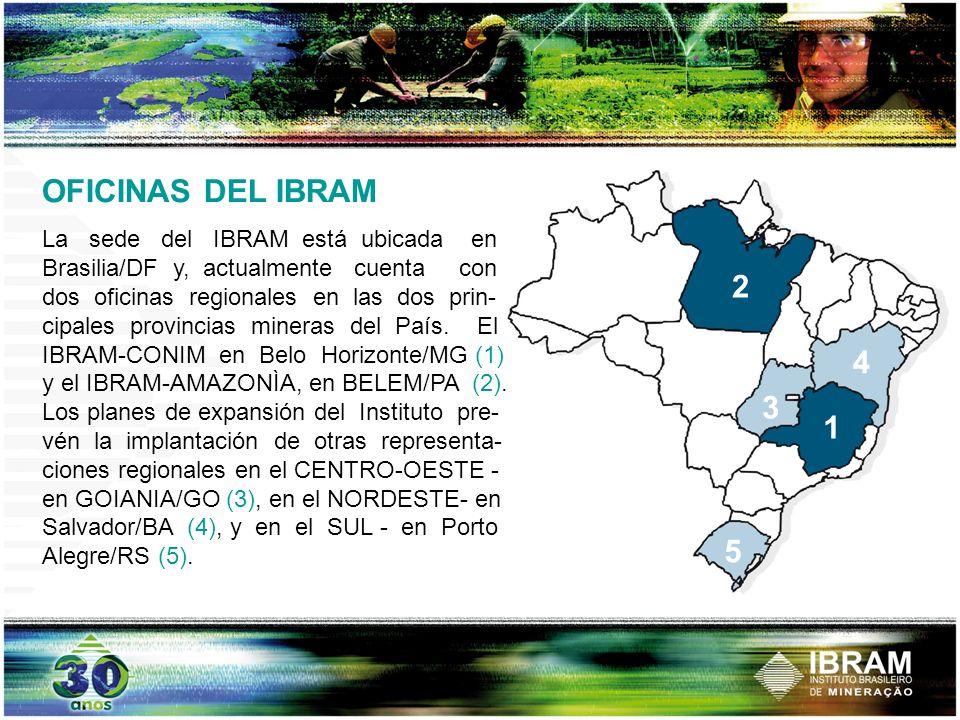 OFICINAS DEL IBRAM La sede del IBRAM está ubicada en Brasilia/DF y, actualmente cuenta con dos oficinas regionales en las dos prin- cipales provincias