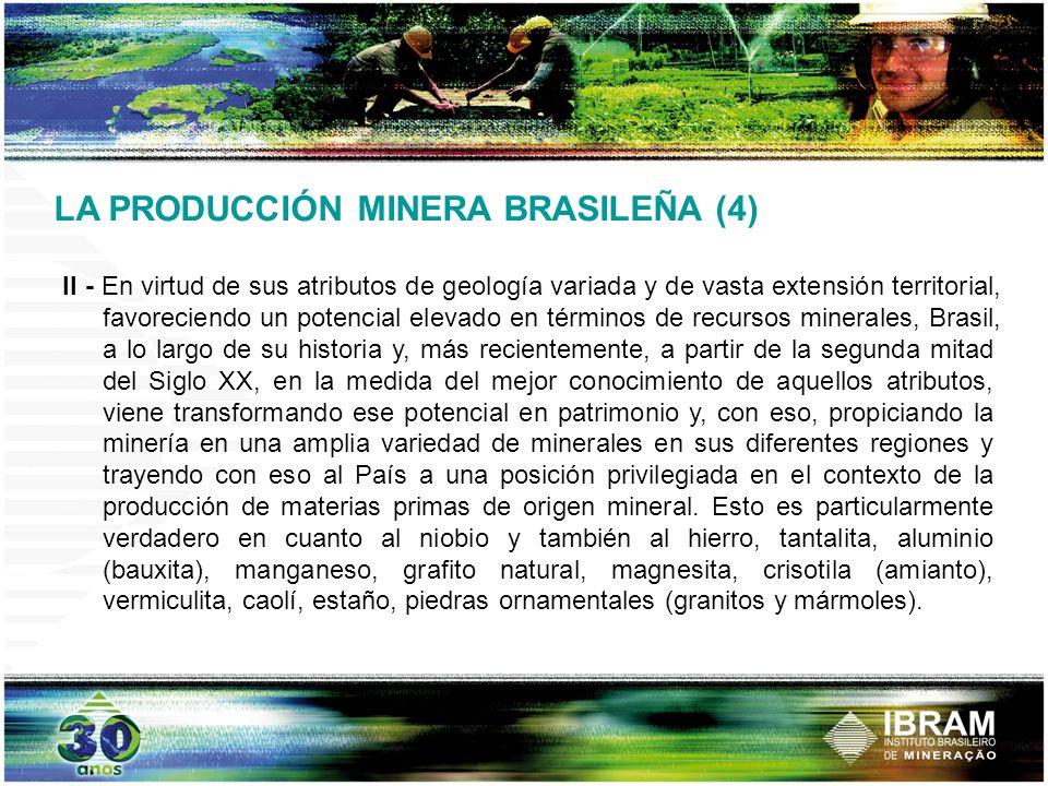 III - Pese a la importancia de la producción de esos commodities ella es apenas una parte de una vasta y diversificada producción mineral brasileña, comprendiendo cerca de 100 diferentes substancias minerales y que, en el 2006, contribuyó con cerca del 5,5% del PBI del País.