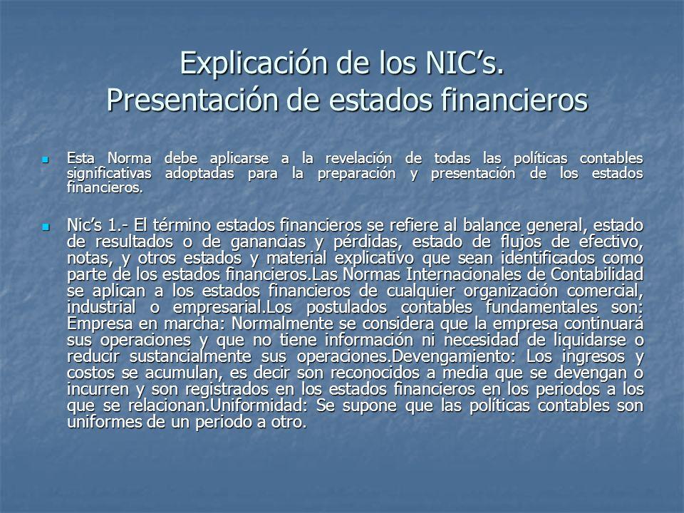 Explicación de los NICs. Presentación de estados financieros Esta Norma debe aplicarse a la revelación de todas las políticas contables significativas