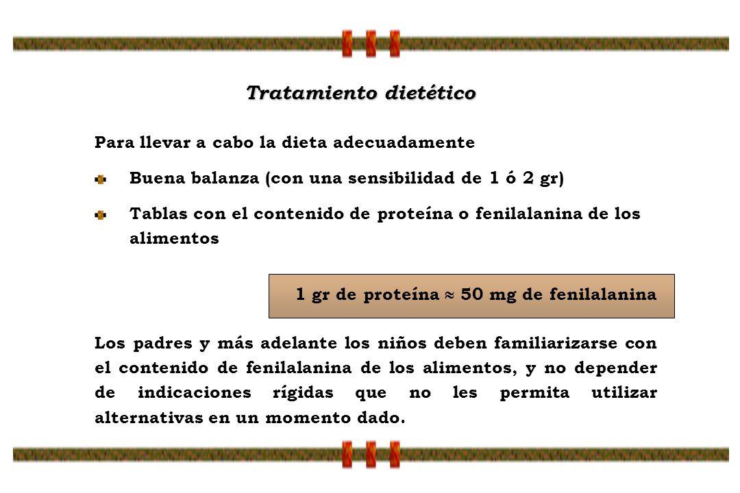 Para llevar a cabo la dieta adecuadamente Buena balanza (con una sensibilidad de 1 ó 2 gr) Tablas con el contenido de proteína o fenilalanina de los a
