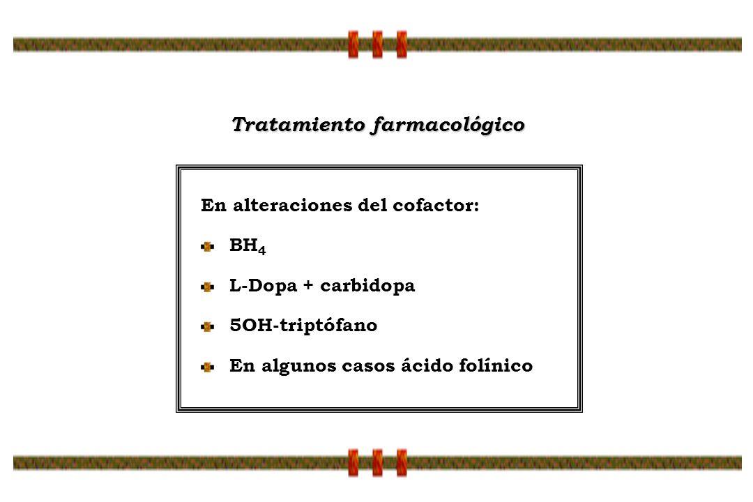 En alteraciones del cofactor: BH 4 L-Dopa + carbidopa 5OH-triptófano En algunos casos ácido folínico Tratamiento farmacológico