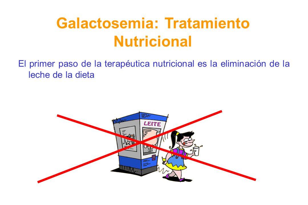 El primer paso de la terapéutica nutricional es la eliminación de la leche de la dieta Galactosemia: Tratamiento Nutricional