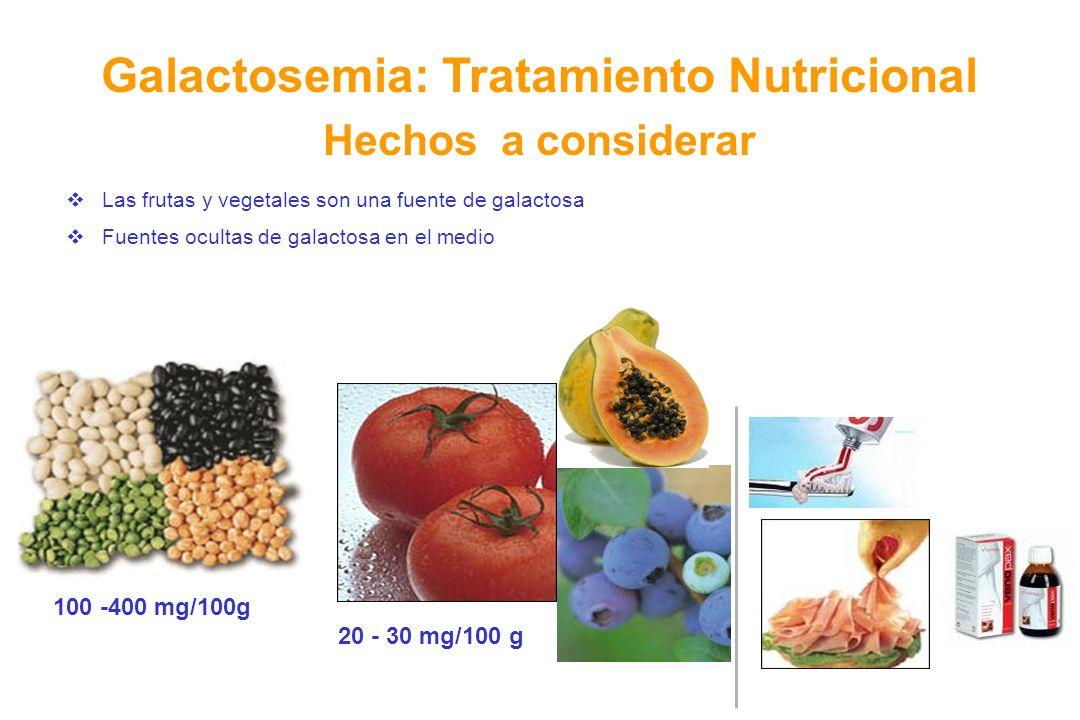 Las frutas y vegetales son una fuente de galactosa Fuentes ocultas de galactosa en el medio 20 - 30 mg/100 g 100 -400 mg/100gg/100 g Galactosemia: Tra
