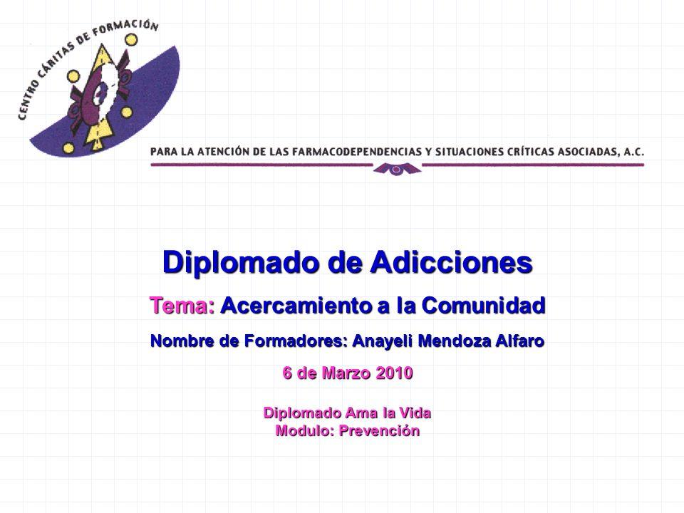 Diplomado de Adicciones Tema: Acercamiento a la Comunidad Nombre de Formadores: Anayeli Mendoza Alfaro 6 de Marzo 2010 Diplomado Ama la Vida Modulo: P