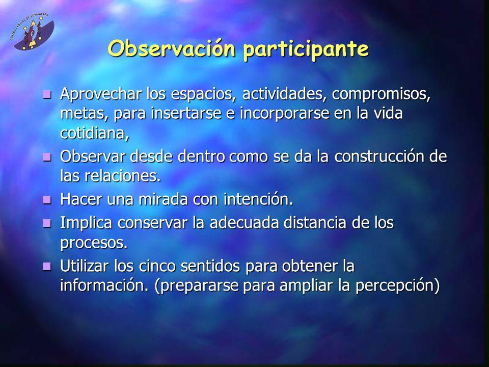 Observación participante Aprovechar los espacios, actividades, compromisos, metas, para insertarse e incorporarse en la vida cotidiana, Aprovechar los