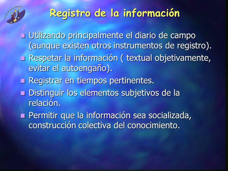 Registro de la información Utilizando principalmente el diario de campo (aunque existen otros instrumentos de registro). Utilizando principalmente el