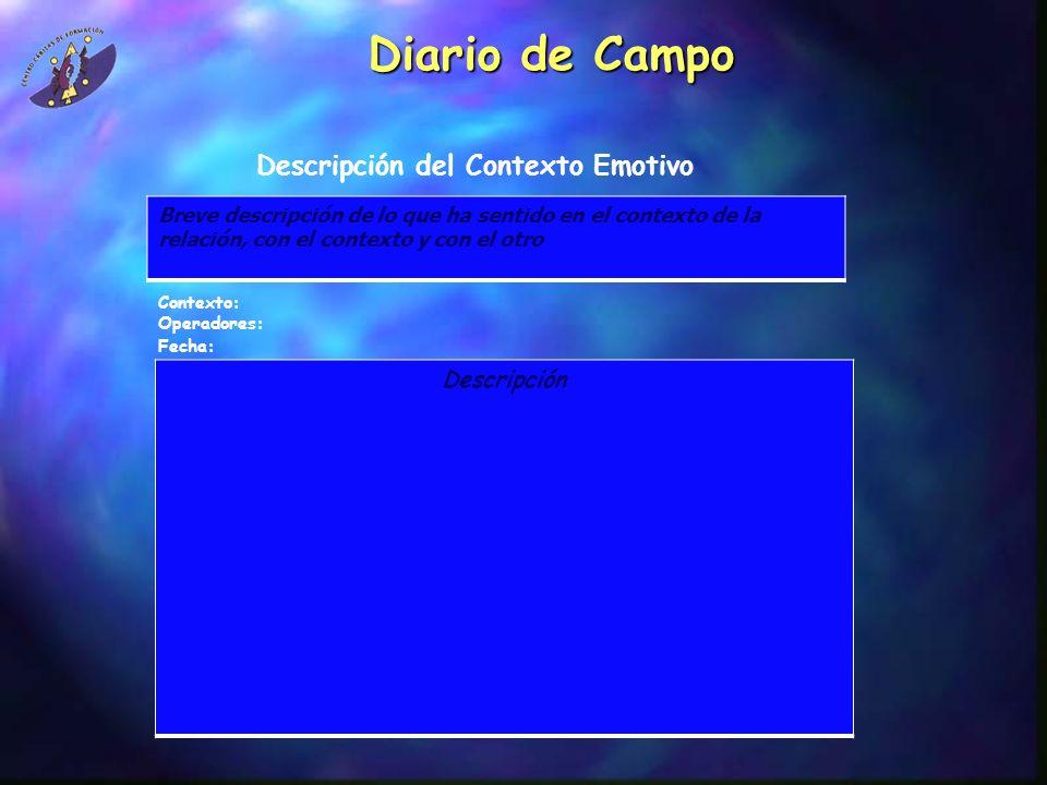 Diario de Campo Breve descripción de lo que ha sentido en el contexto de la relación, con el contexto y con el otro Descripción del Contexto Emotivo D