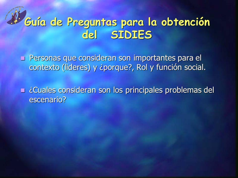 Guía de Preguntas para la obtención del SIDIES Personas que consideran son importantes para el contexto (lideres) y ¿porque?, Rol y función social. Pe