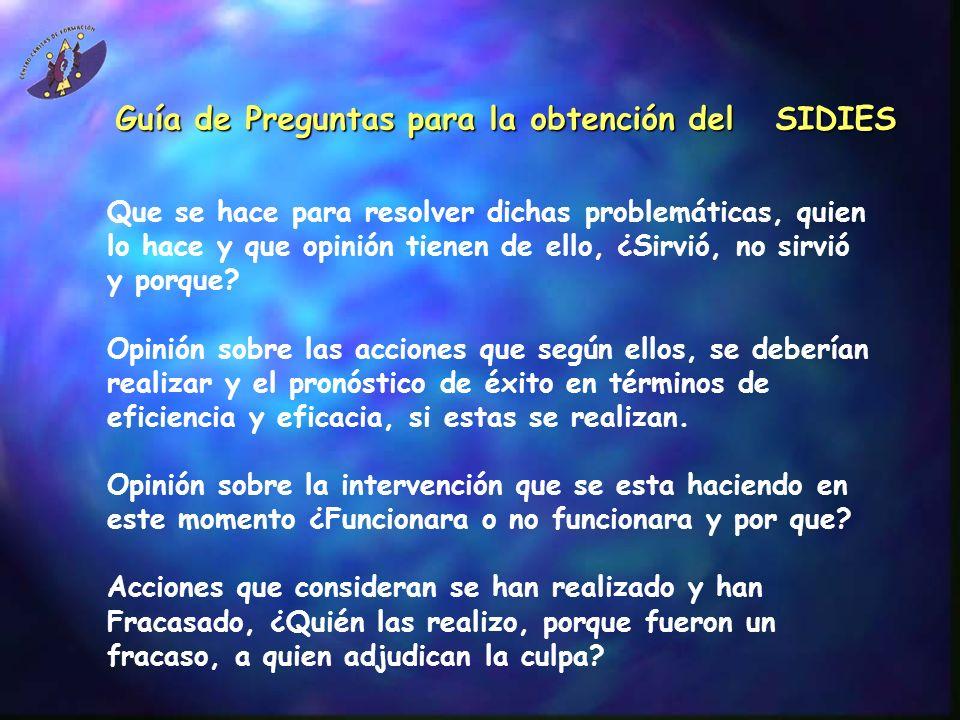 Guía de Preguntas para la obtención del SIDIES Recopilación y descripción de 4 conflictos entre los actores de la colonia, ¿se solucionaron.