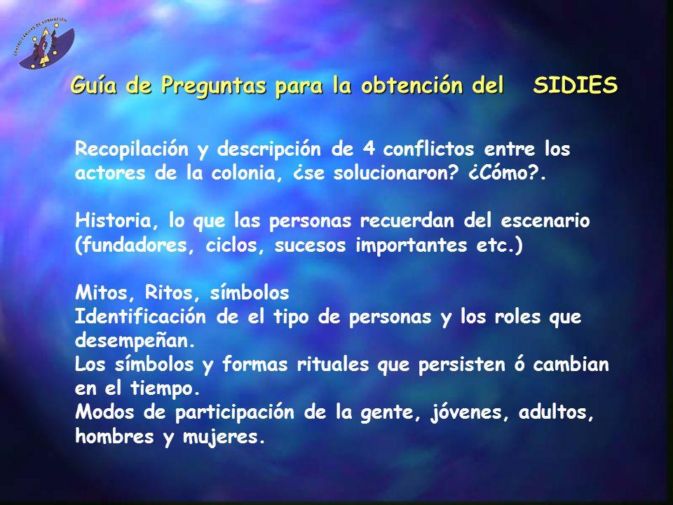 Guía de Preguntas para la obtención del SIDIES Recopilación y descripción de 4 conflictos entre los actores de la colonia, ¿se solucionaron? ¿Cómo?. H