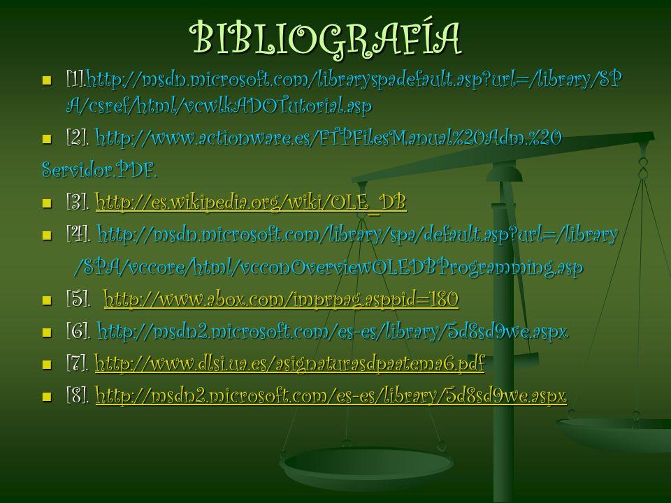 BIBLIOGRAFÍA [1].http://msdn.microsoft.com/libraryspadefault.asp?url=/library/SP A/csref/html/vcwlkADOTutorial.asp [1].http://msdn.microsoft.com/libra