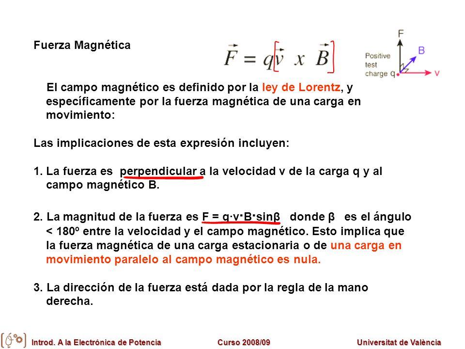 Introd. A la Electrónica de PotenciaCurso 2008/09Universitat de València Fuerza Magnética El campo magnético es definido por la ley de Lorentz, y espe