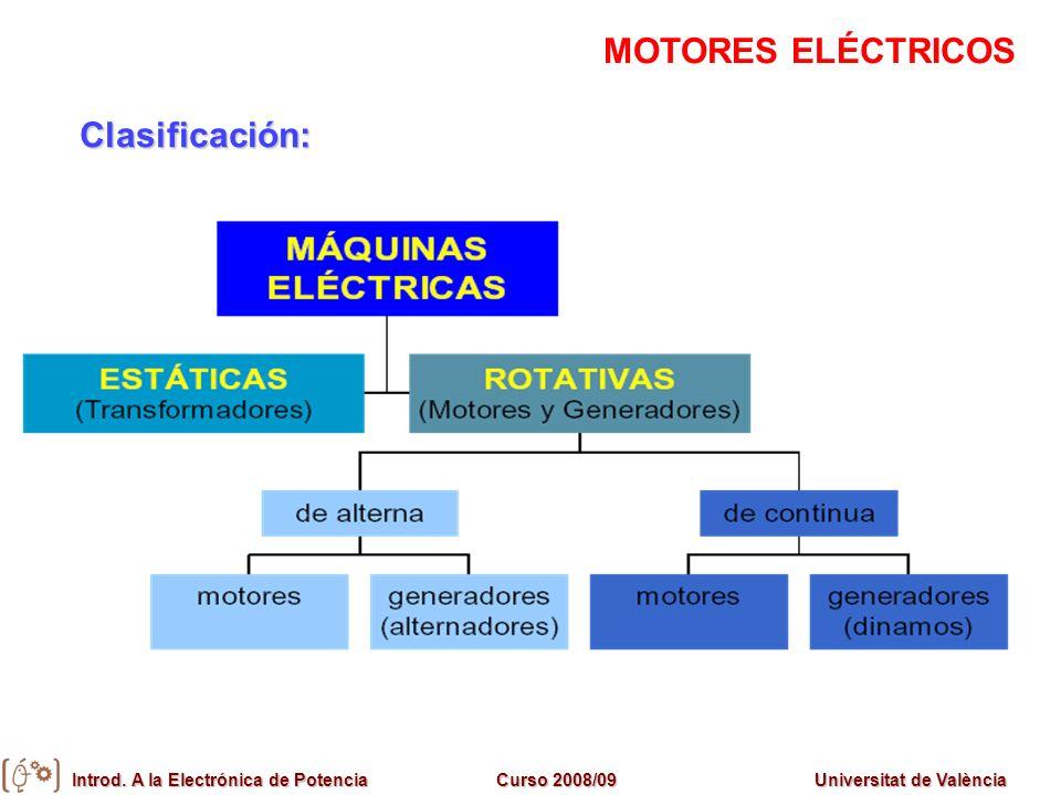 Introd. A la Electrónica de PotenciaCurso 2008/09Universitat de València Clasificación: MOTORES ELÉCTRICOS