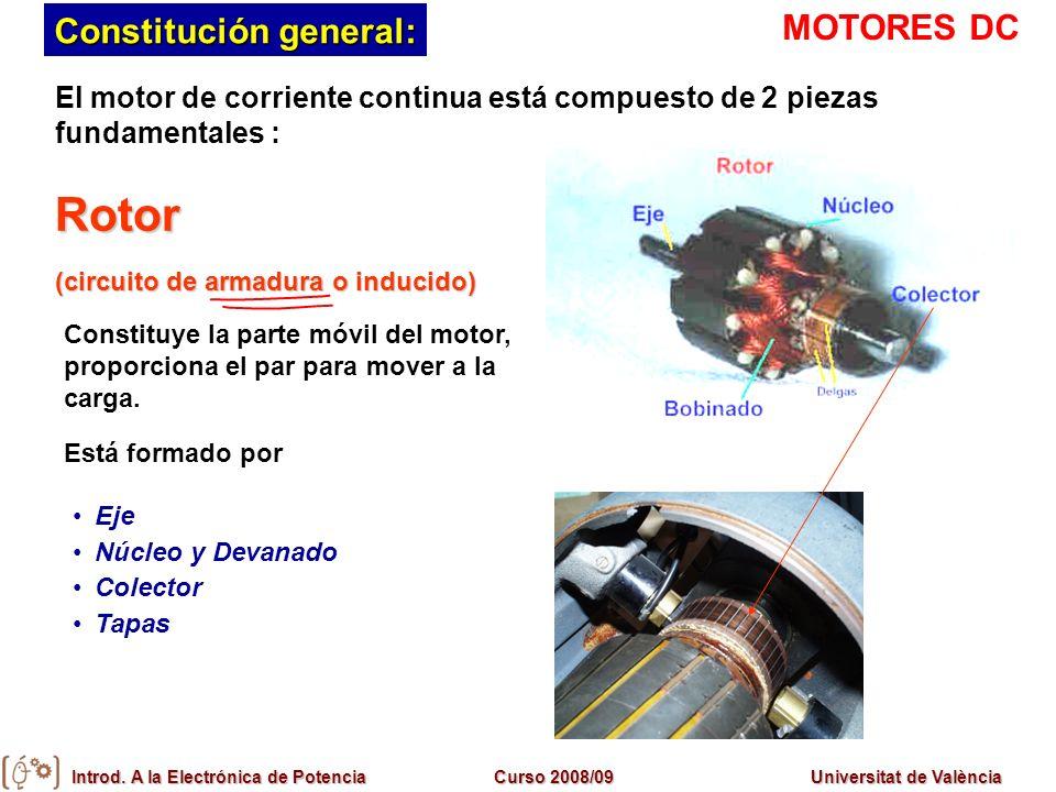 Introd. A la Electrónica de PotenciaCurso 2008/09Universitat de València Constitución general: El motor de corriente continua está compuesto de 2 piez