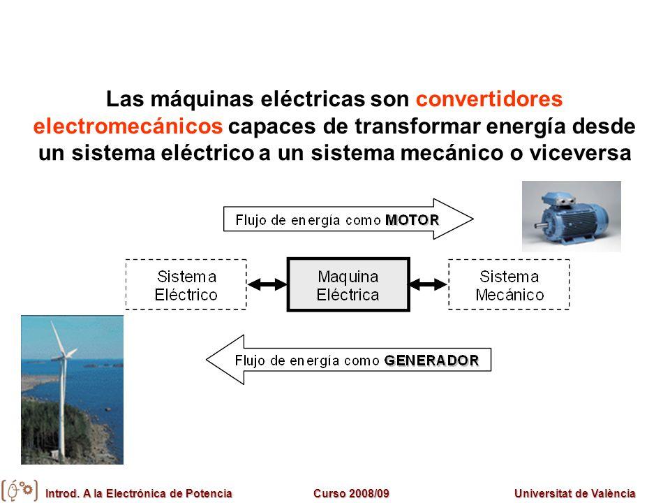 Introd. A la Electrónica de PotenciaCurso 2008/09Universitat de València Las máquinas eléctricas son convertidores electromecánicos capaces de transfo