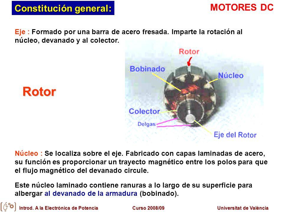 Introd. A la Electrónica de PotenciaCurso 2008/09Universitat de València Eje : Formado por una barra de acero fresada. Imparte la rotación al núcleo,
