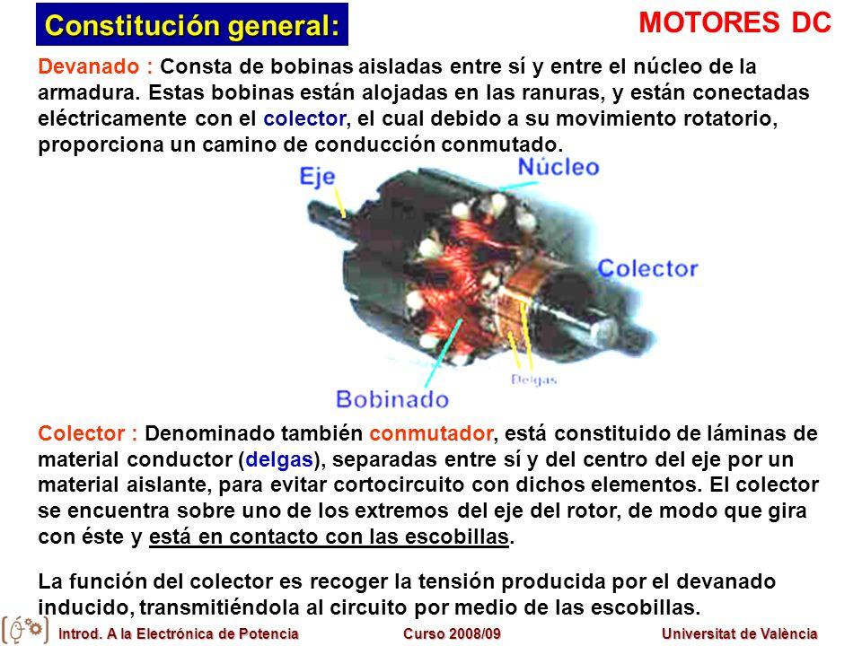 Introd. A la Electrónica de PotenciaCurso 2008/09Universitat de València Devanado : Consta de bobinas aisladas entre sí y entre el núcleo de la armadu