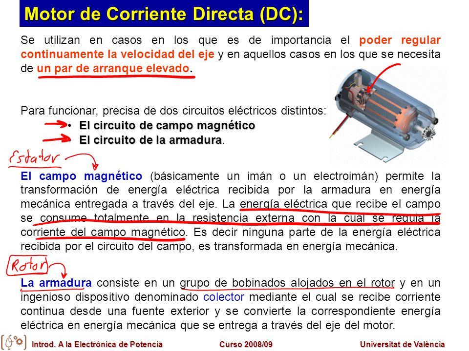 Introd. A la Electrónica de PotenciaCurso 2008/09Universitat de València Se utilizan en casos en los que es de importancia el poder regular continuame