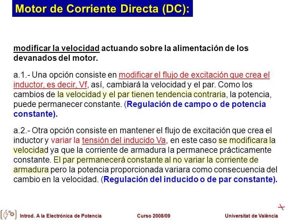 Introd. A la Electrónica de PotenciaCurso 2008/09Universitat de València modificar la velocidad actuando sobre la alimentación de los devanados del mo