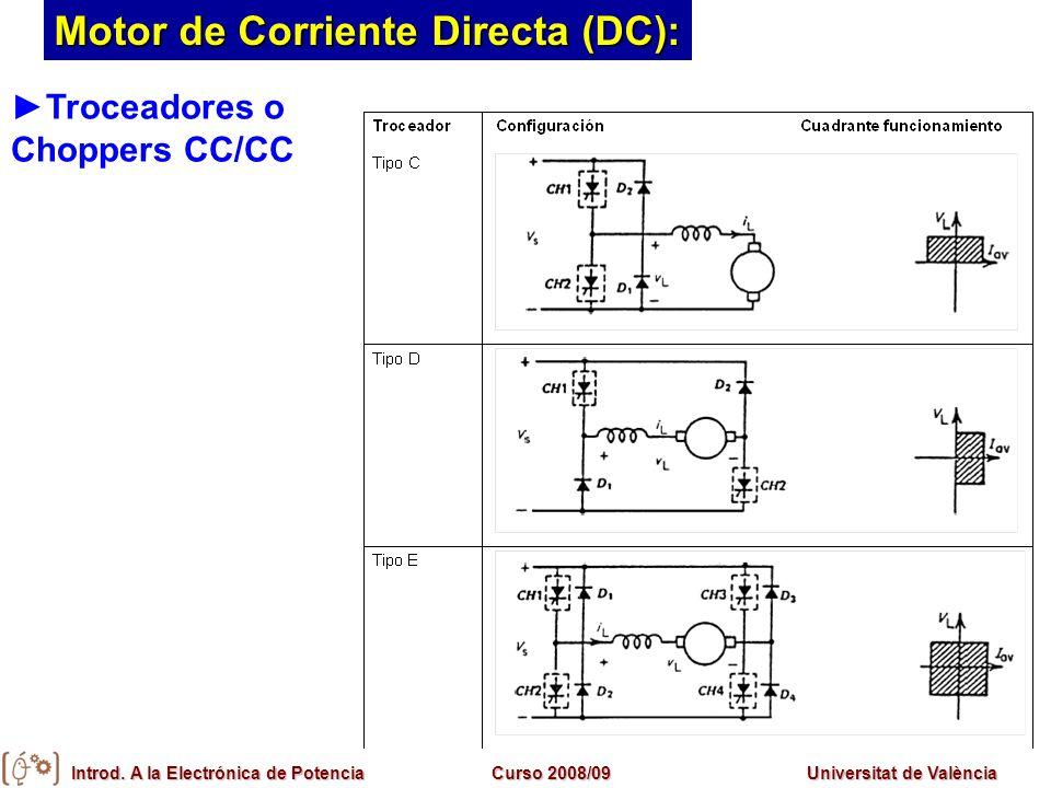 Introd. A la Electrónica de PotenciaCurso 2008/09Universitat de València Troceadores o Choppers CC/CC Motor de Corriente Directa (DC):