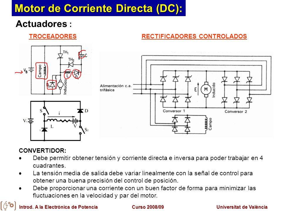 Introd. A la Electrónica de PotenciaCurso 2008/09Universitat de València Motor de Corriente Directa (DC): Actuadores : CONVERTIDOR: Debe permitir obte