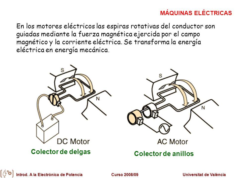 Introd. A la Electrónica de PotenciaCurso 2008/09Universitat de València En los motores eléctricos las espiras rotativas del conductor son guiadas med