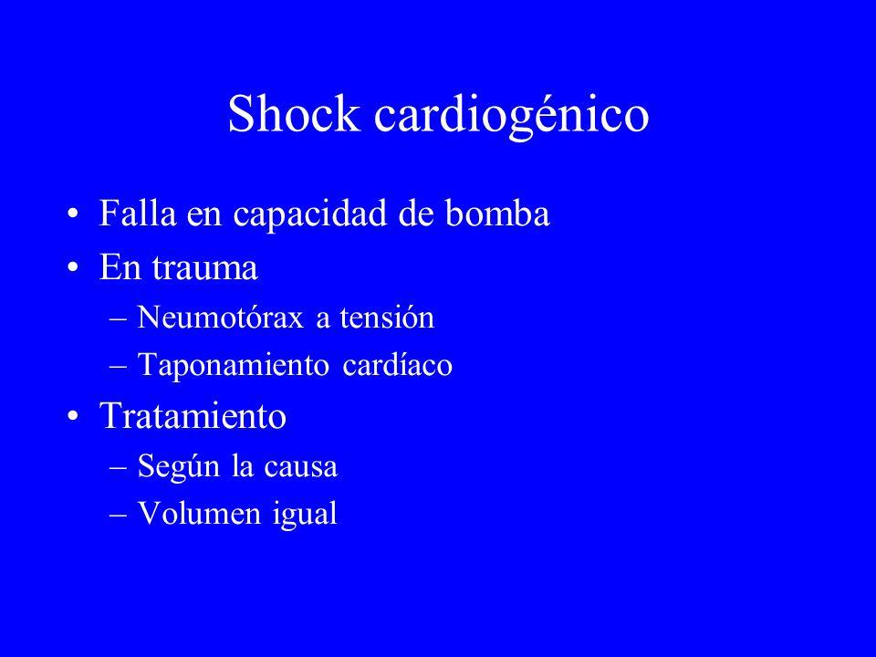 Shock cardiogénico Falla en capacidad de bomba En trauma –Neumotórax a tensión –Taponamiento cardíaco Tratamiento –Según la causa –Volumen igual