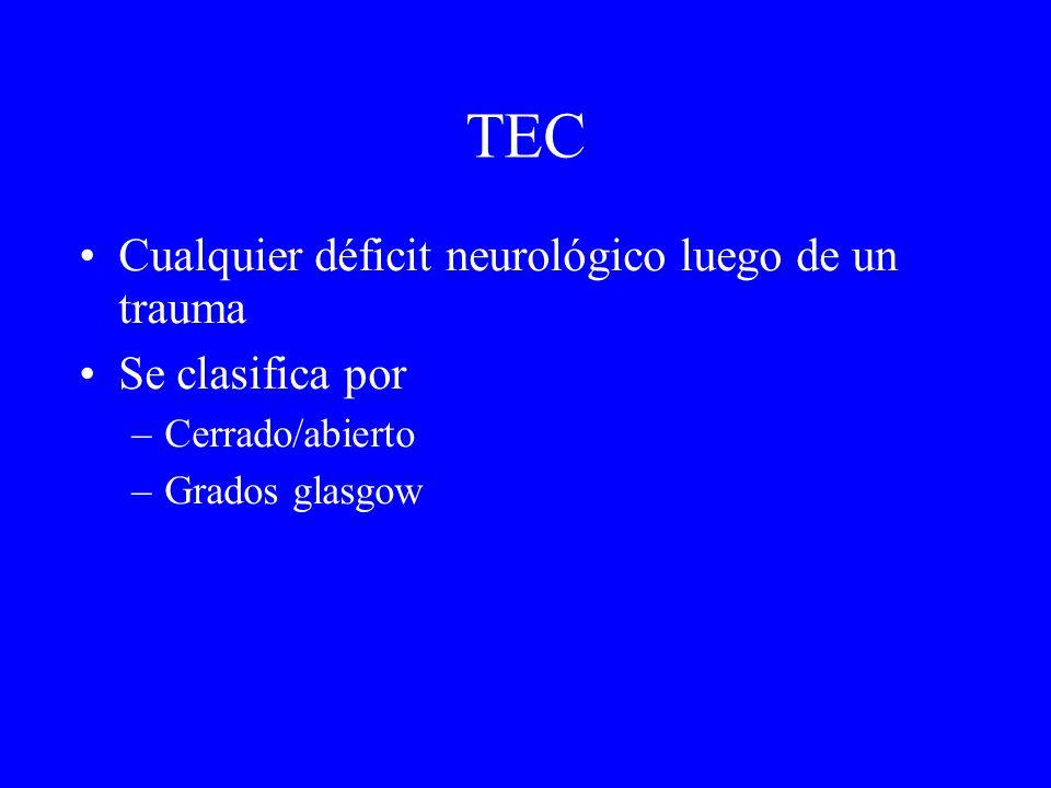 TEC Cualquier déficit neurológico luego de un trauma Se clasifica por –Cerrado/abierto –Grados glasgow