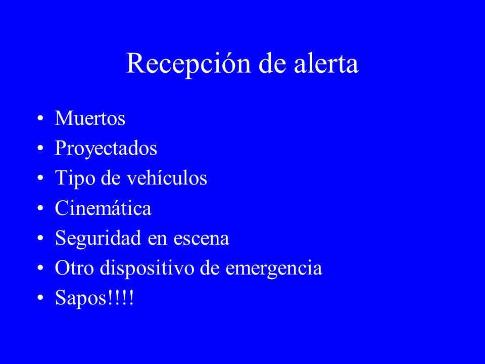Recepción de alerta Muertos Proyectados Tipo de vehículos Cinemática Seguridad en escena Otro dispositivo de emergencia Sapos!!!!