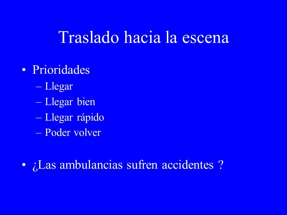 Traslado hacia la escena Prioridades –Llegar –Llegar bien –Llegar rápido –Poder volver ¿Las ambulancias sufren accidentes ?