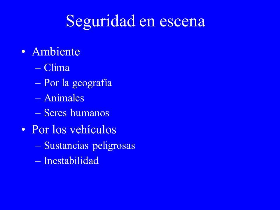 Seguridad en escena Ambiente –Clima –Por la geografía –Animales –Seres humanos Por los vehículos –Sustancias peligrosas –Inestabilidad