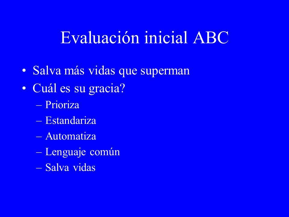 Evaluación inicial ABC Salva más vidas que superman Cuál es su gracia? –Prioriza –Estandariza –Automatiza –Lenguaje común –Salva vidas