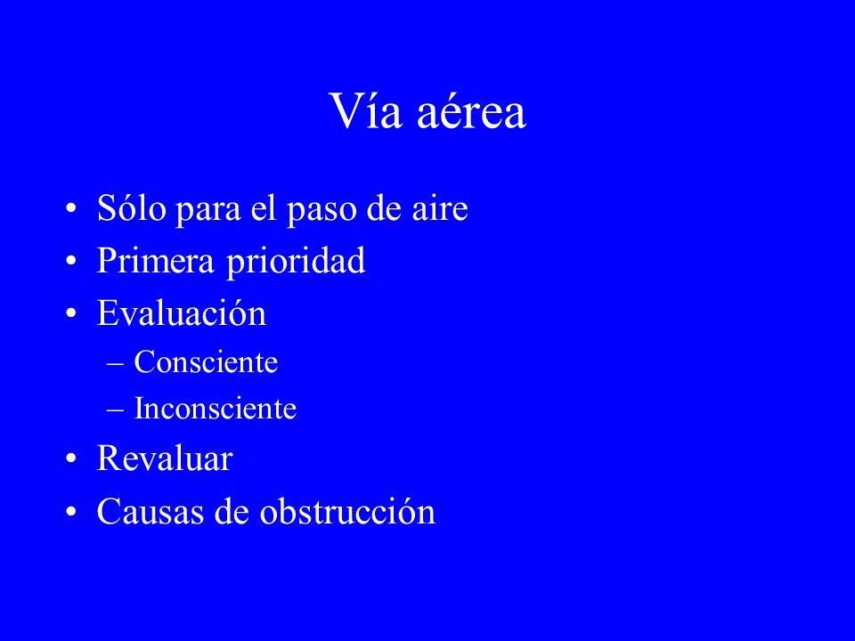 Sólo para el paso de aire Primera prioridad Evaluación –Consciente –Inconsciente Revaluar Causas de obstrucción